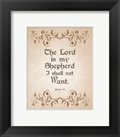 Framed Psalm 23 The Lord is My Shepherd - Brown