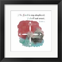 Framed Psalm 23 The Lord is My Shepherd - Cross 2