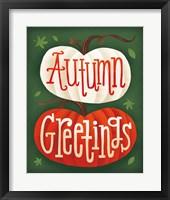 Harvest Time Autumn Greetings Pumpkins Framed Print