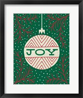 Jolly Holiday Ornaments Joy Framed Print