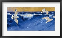 Framed Seagulls with Gold Sky