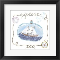 Ship in a Bottle Explore Framed Print