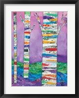 Multicolored Birch Tree I Framed Print