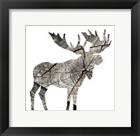 Wood Moose White Framed Print