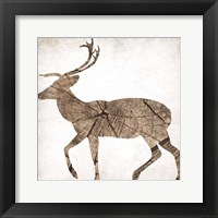 Brown Wood Deer Mate Framed Print