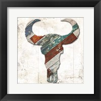 Wooden Bull Head Framed Print