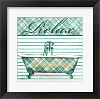 Relaxed Plaid Bath Framed Print