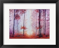 Framed Red Foggy Forest
