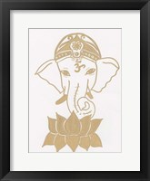 Golden Elephant Lotus Framed Print