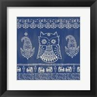 Framed Boho Owl Blue
