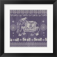 Boho Elephant Purple Framed Print
