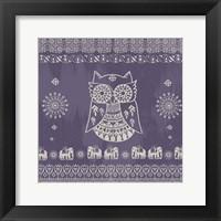 Boho Owl Purple Framed Print
