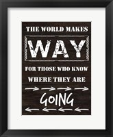 Know Where You Are Going Framed Print
