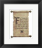 Framed Jeremiah 29:11 For I know the Plans I have for You (Dove on Scroll)