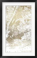 Gold Foil City Map New York- Metallic Foil Framed Print