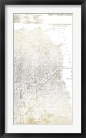 Gold Foil City Map San Francisco- Metallic Foil Framed Print