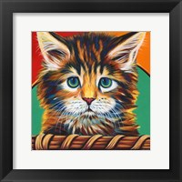 Kitten in Basket I Framed Print