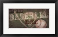 Framed Eat, Sleep, Baseball, Repeat