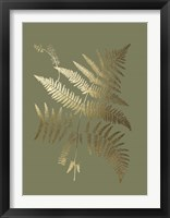 Gold Foil Ferns I on Mid Green - Metallic Foil Framed Print