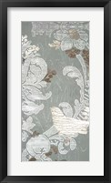 Gilded Damask Songbird II - Metallic Foil Framed Print