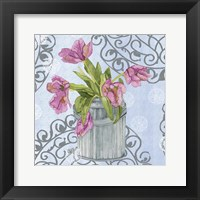 Framed Garden Gate Flowers I