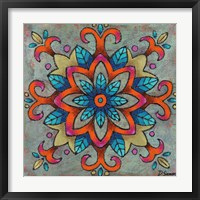 Mandala Blue Leaves Framed Print