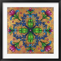 Mandala Green Beetles Framed Print