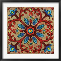 Mandala Red Vines Framed Print