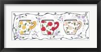 Framed Three Floral Mugs