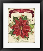 Happy Holidays - Pointsettia Framed Print
