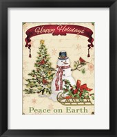 Happy Holidays - Snowman Framed Print