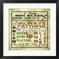 Framed I Love Dogs - Dog Rules