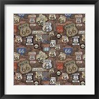 Route 66 on Brick Framed Print