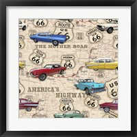 Framed Route 66 Muscle Car Map