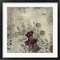 Floral Collage White Space Framed Print
