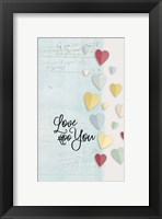 Framed Love You Colorful Hearts