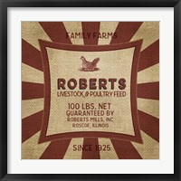 Framed Roberts Starburst Feed Sack