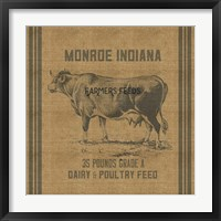Cow Feed Sack Framed Print
