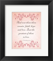 Framed 1 Corinthians 13:13 Faith, Hope and Love (Pink)
