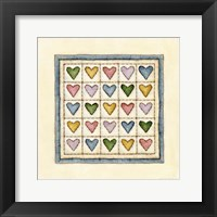 Hearts Patchwork Framed Print