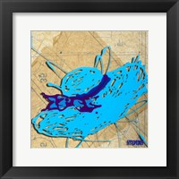 Framed Blue Floppy Purple Bow