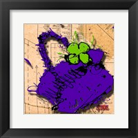 Flower Purse Green On Purple Framed Print