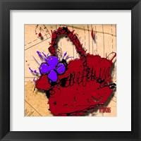 Framed Flower Purse Purple On Red