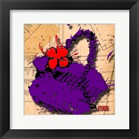 Flower Purse Red On Purple Framed Print