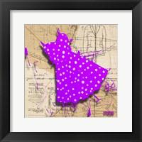 Framed White On Purple