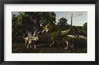 Framed Bistahieversor Attacking a Pair of Pentaceratops