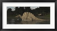 Framed Spinosaurus Hunting For Fish In A Lake