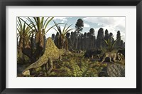 Framed Triassic Scene With The Sailback Arizonasaurus And Some Dicynodonts