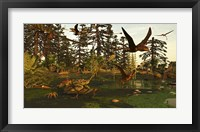 Framed Eudimorphodon And Peteinosaurus Pterosaurs In A Swampy Triassic Scene