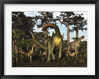 Framed Jobaria Dinosaur Is Menaced By Afrovenators In Jurassic North Africa